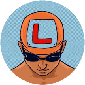 Swimmer with an L plate on their swimming hat