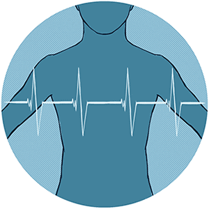 Torso of a person with an ECG trace over the top