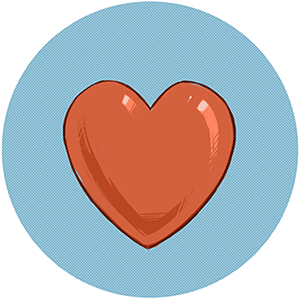 Stylised red heart representing health section