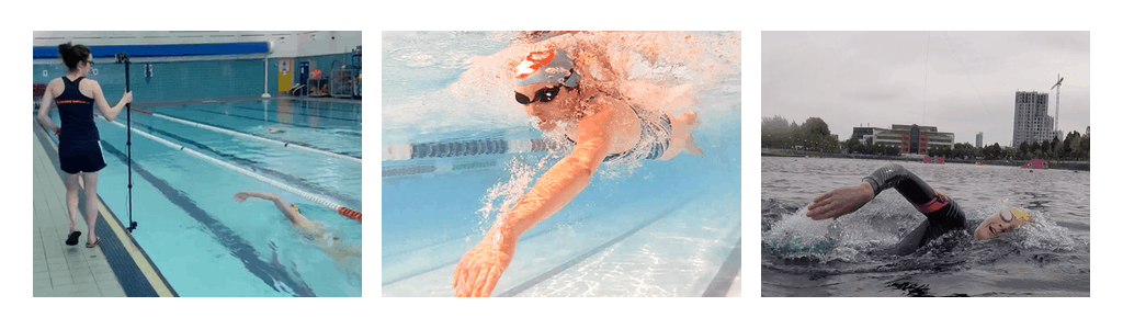 3 photos representing Swim Smooth 3 keys: Technique (video analysis), fitness (front crawl) and open water (swimmer)